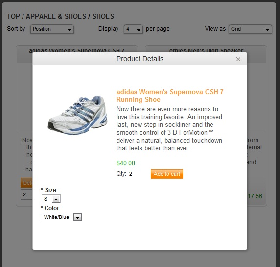 Nop Ajax Cart plugin product popup window