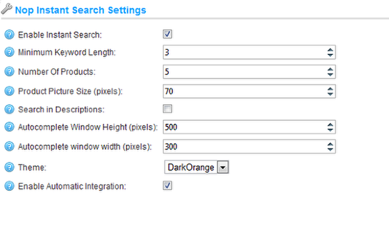 Working with the Nop Instant Search